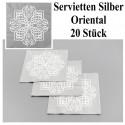 Servietten, Tischdeko Orientalisch Silber, 1001 Nacht, 20 Stück