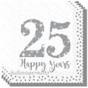 Servietten 25 Happy Years zum 25., Jubiläum, Geburtstag, Silberne Hochzeit