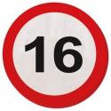 Geburtstagsservietten zum 16. Geburtstag, Verkehrsschild 16