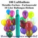 Maxi-Set MA, 100 Luftballons Metallic mit Helium (Farbauswahl)