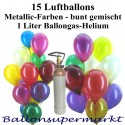 Ballons-Helium-Mini-Set, 15 bunte Luftballons Metallic mit Helium