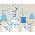 Deko-Swirls Shower with Love Boy, Dekorationshänger zur Babyparty