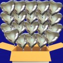 Silberhochzeit 20 Silberne Folienballonherzen