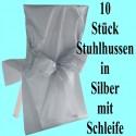 10 Stuhlhussen, Silber, mit Schleife