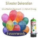 Silvester Dekoration, 12 Luftballons Feuerwerk mit 1 Liter Helium-Einweg