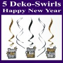 Silvesterdeko Swirls Happy New Year, 5 Deko-Wirbler