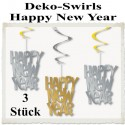 Silvester Dekoration, Deko-Hänger Swirls Happy New Year, Silber-Gold, 3 Stück