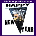 Silvester Dekoration, Wimpelkette, Happy New Year