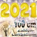 Zahlendekoration Silvester 2021, 1 Meter große Zahlen in Gelb