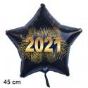 Silvester-Sternballon aus Folie, 2021 - Feuerwerk, ohne Helium
