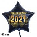 Silvester-Sternballon aus Folie, 2021 - Feuerwerk, mit Helium gefüllt