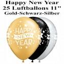 Luftballons Silvester, Motiv: Happy New Year, gold, silber, schwarz, 25 Stück