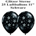 Luftballons Silvester, Motiv: Glitzernde Sterne, schwarz, 25 Stück