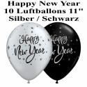Luftballons Silvester, Motiv: Happy New Year, silber/schwarz, 10 Stück