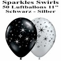 Luftballons Silvester, Motiv: Sparkles - Swirls, silber, schwarz, 50 Stück