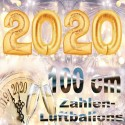 Zahlendekoration Silvester 2020, 1 Meter große Zahlen in Gold
