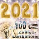 Zahlendekoration Silvester 2021, 1 Meter große Zahlen in Gold