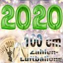 Zahlendekoration Silvester 2020, 1 Meter große Zahlen in Grün