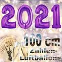 Zahlendekoration Silvester 2021, 1 Meter große Zahlen in Lila