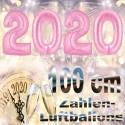 Zahlendekoration Silvester 2020, 1 Meter große Zahlen in Rosa