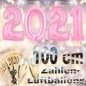 Zahlendekoration Silvester 2021, 1 Meter große Zahlen in Rosa