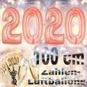 Zahlendekoration Silvester 2020, 1 Meter große Zahlen in Roségold