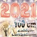Zahlendekoration Silvester 2021, 1 Meter große Zahlen in Roségold