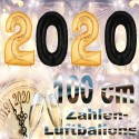 Zahlendekoration Silvester 2020, 1 Meter große Zahlen-Luftballons in Schwarz und Gold