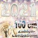 Zahlendekoration Silvester 2021, 1 Meter große Zahlen in Silber