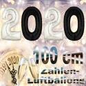 Zahlendekoration Silvester 2020, 1 Meter große Zahlen in Schwarz und Silber