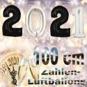 Zahlendekoration Silvester 2021, 1 Meter große Zahlen in Schwarz und Silber