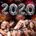 Zahlendekoration Silvester 2020, 86 cm große Zahlen in Silber mit Punkten