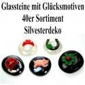 Silvester Dekoration, Glücksbringer-Glassteine mit Glücksmotiven, 40er Set
