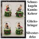 Silvester Dekoration, Glücksbringer Schneekugeln mit Schornsteinfeger, 4er Set