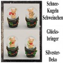 Silvester Dekoration, Glücksbringer Schneekugeln mit Glücksschweinchen, 4er Set