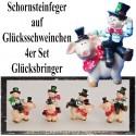 Silvester Dekoration, Glücksbringer Schornsteinfeger auf Glücksschweinchen, 4er Set