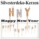 Silvester Dekoration, Zierkerzen-Set, Happy New Year