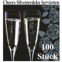 Silvester Servietten, Cheers, Sekt, 100 Stück