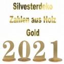 Silvester Dekoration, Zahlen aus Holz, Gold, 2021, 13 cm groß