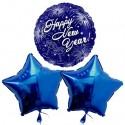 Silvestergrüße Happy New Year, Blue Stars