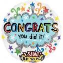 Singender Folienballon, Congrats - You did it! inkl. Helium