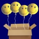 5 Smiley Luftballons aus Folie mit Helium-Ballongas