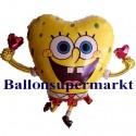 Luftballon SpongeBob, Herz-Folienballon mit Ballongas