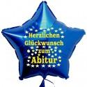 Herzlichen Glückwunsch zum Abitur, Stern-Luftballon mit Helium-Ballongas, Ballongrüße