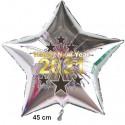 """Silvester-Sternballon Silber aus Folie, """"2021"""", Happy New Year, mit Helium gefüllt"""