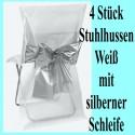 4 Stuhlhussen, Weiß, mit silberner Schleife