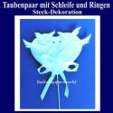Taubenpaar mit Schleife und Ringen, Steck-Dekoration Hochzeit