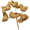 Taubenpaare auf Draht Gold Glitzer, goldene Hochzeit-Tischdeko, 3 Stück