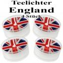 Union Jack Teelichter, Deko-Kerzen, England-Partydekoration, 4 Stück