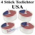 USA Teelichter, Deko-Kerzen, USA-Partydekoration, 4 Stück
